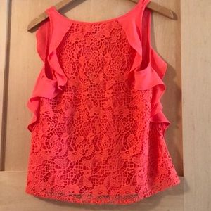 LC Lauren Conrad Tops - Lauren Conrad cascade ruffle lace back Top xs